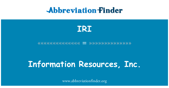 IRI: Information Resources, Inc.