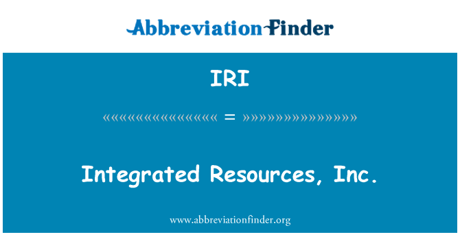 IRI: Integrated Resources, Inc.