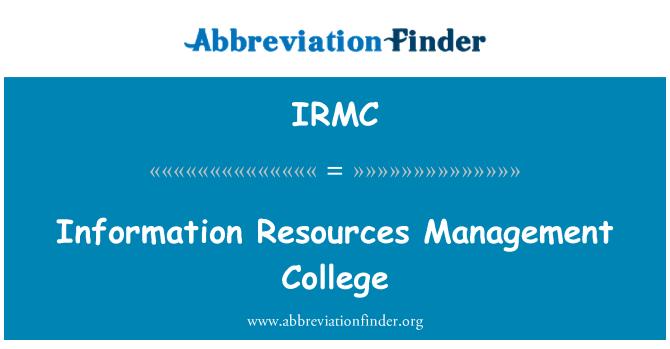 IRMC: College upravljanje virov informacij