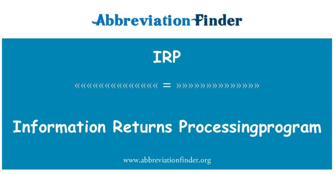 IRP: Maklumat pulangan Processingprogram