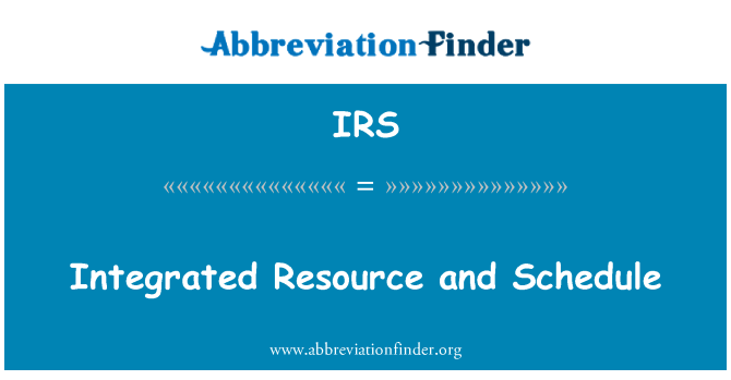 IRS: Integrated Resource and Schedule
