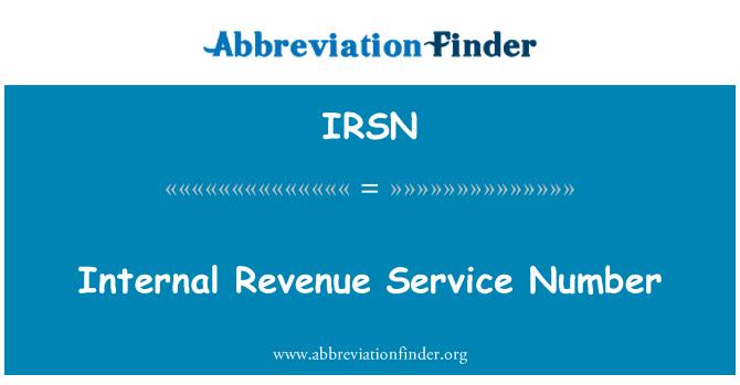 IRSN: Número del servicio de rentas internas