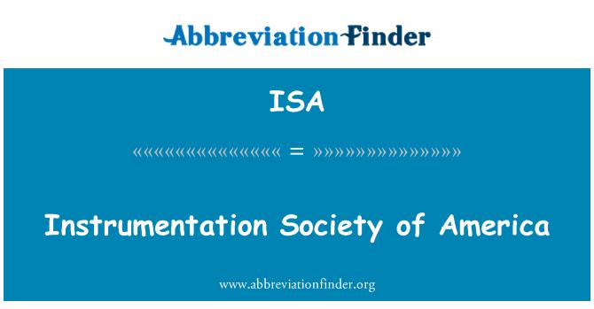 ISA: Instrumentation Society of America