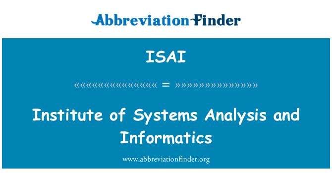 ISAI: Institut sistem analisis dan Informatik