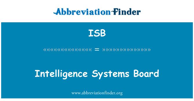 ISB: Intelligence Systems Board