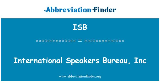 ISB: International Speakers Bureau, Inc