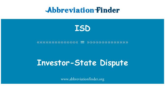 ISD: Investor-State Dispute