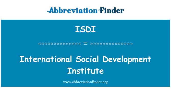 ISDI: Instituto Internacional de Desarrollo Social