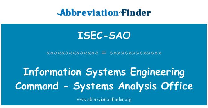ISEC-SAO: Comando - oficina de análisis de sistemas de ingeniería de sistemas de información