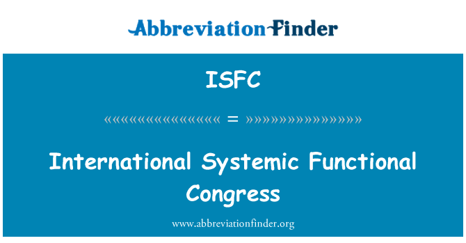 ISFC: International Systemic Functional Congress