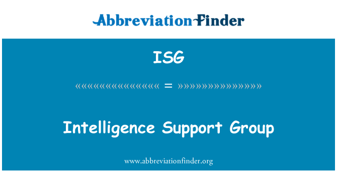 ISG: Intelligence Support Group