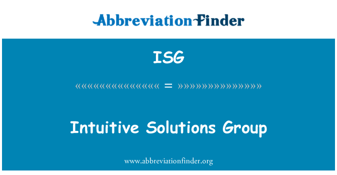 ISG: Intuitive Solutions Group
