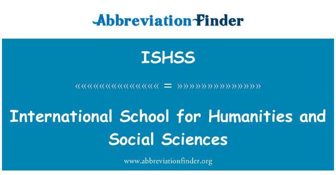 ISHSS: Escuela Internacional de ciencias sociales y Humanidades