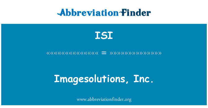 ISI: Imagesolutions, Inc.