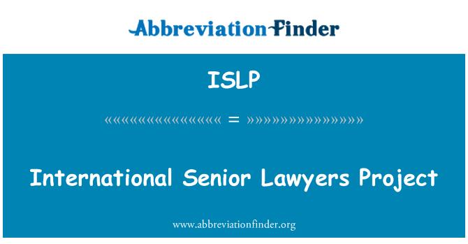 ISLP: Internasioanl Senior proyek