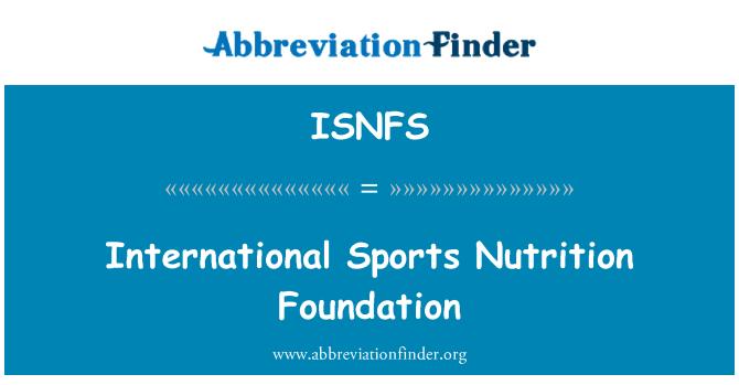 ISNFS: Uluslararası Spor beslenme Vakfı