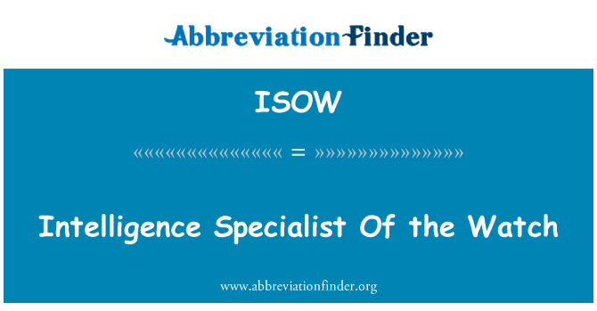ISOW: Intelligence Specialist Of the Watch