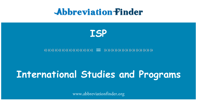 ISP: International Studies and Programs