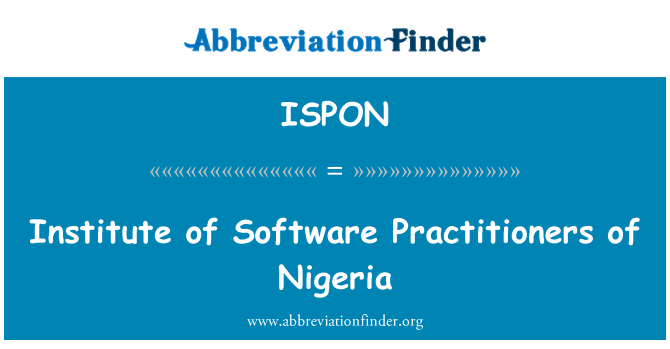 ISPON: Institute of Software Practitioners of Nigeria