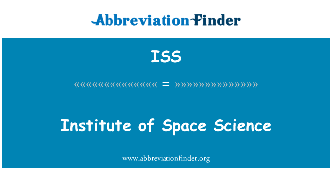 ISS: Institute of Space Science