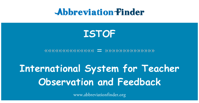 ISTOF: International System for Teacher Observation and Feedback