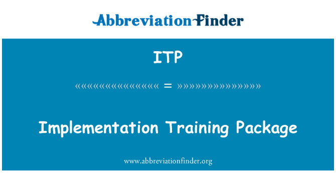 ITP: Implementation Training Package