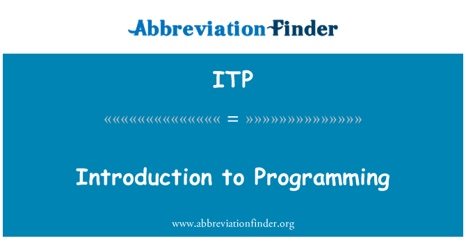 ITP: Introduction to Programming