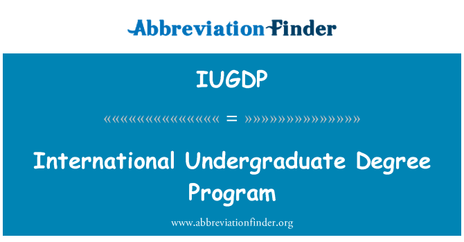 IUGDP: International Undergraduate Degree Program
