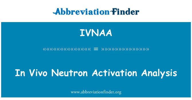 IVNAA: In Vivo Neutron Activation Analysis