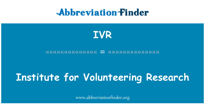 IVR: Institute for Volunteering Research