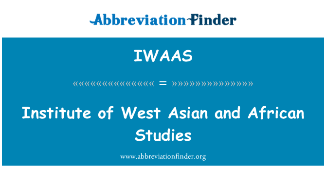 IWAAS: Institute of West Asian and African Studies
