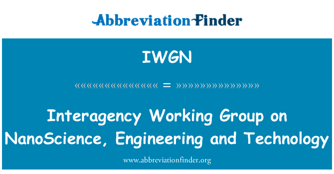 IWGN: Interagency Working Group on NanoScience, Engineering and Technology