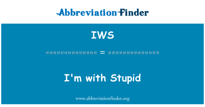 IWS: I'm with Stupid