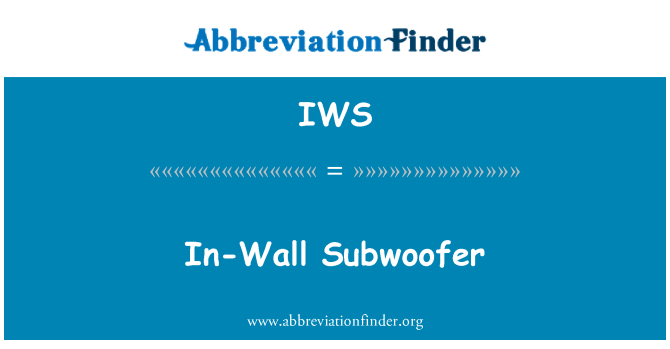 IWS: In-Wall Subwoofer