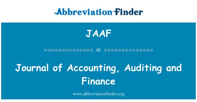 JAAF: Diario de contabilidad, auditoría y finanzas