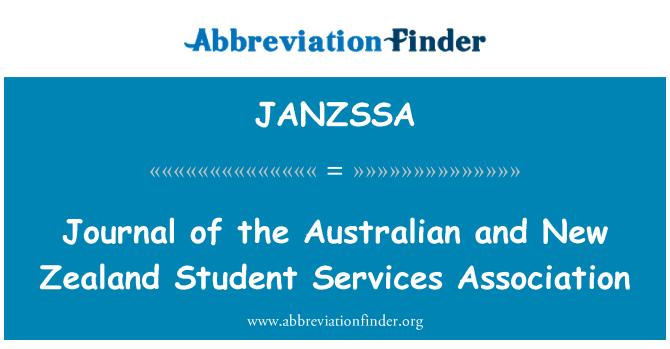 JANZSSA: Journal of the Australian and New Zealand Student Services Association