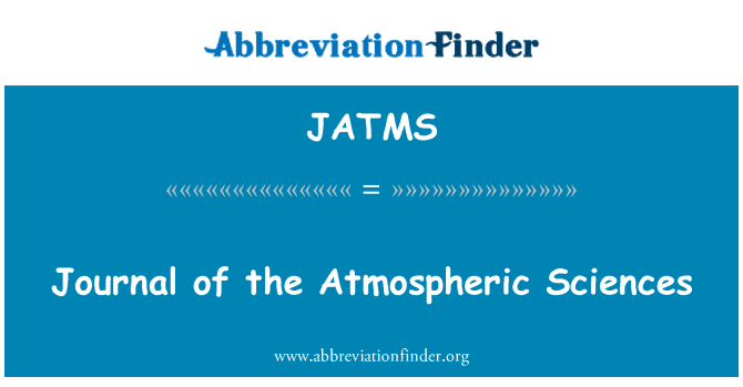 JATMS: Journal of the Atmospheric Sciences