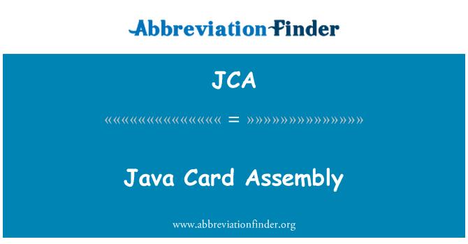 JCA: Java Card Assembly