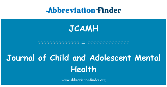 JCAMH: Journal of Child and Adolescent Mental Health