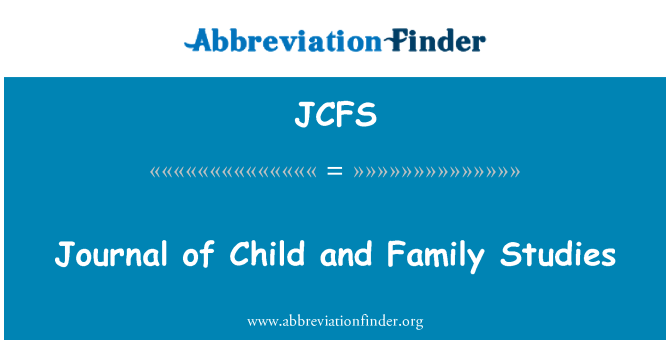 JCFS: Journal of Child and Family Studies