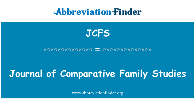 JCFS: Journal of Comparative Family Studies