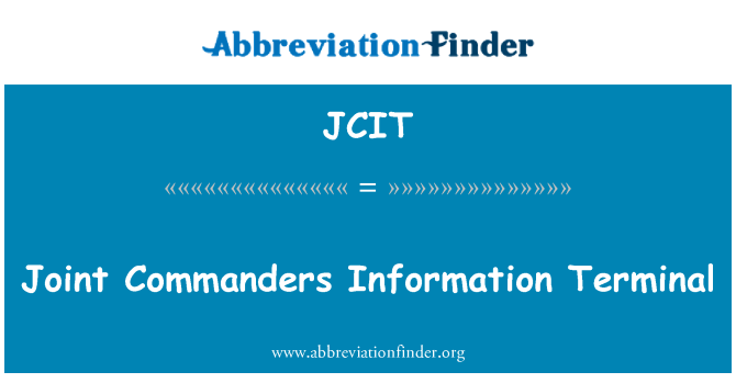 JCIT: Ühine ülemate teavet Terminal