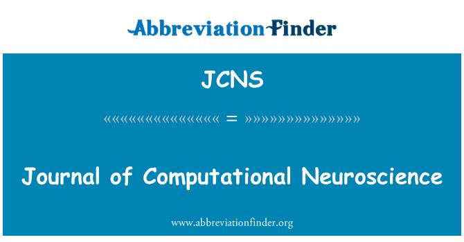 JCNS: Journal of Computational Neuroscience