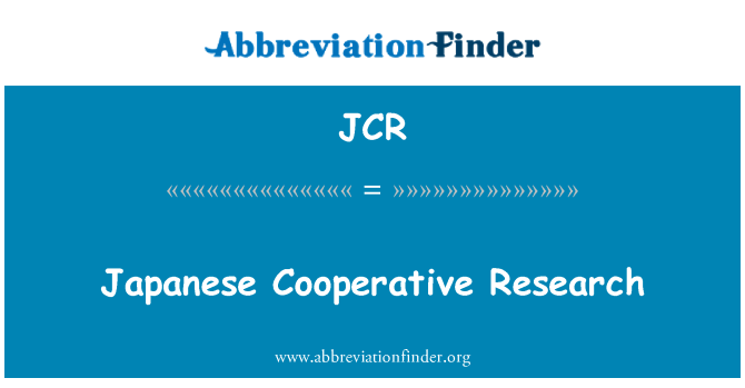 JCR: Japanese Cooperative Research