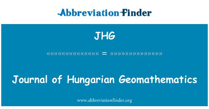 JHG: Journal of Hungarian Geomathematics