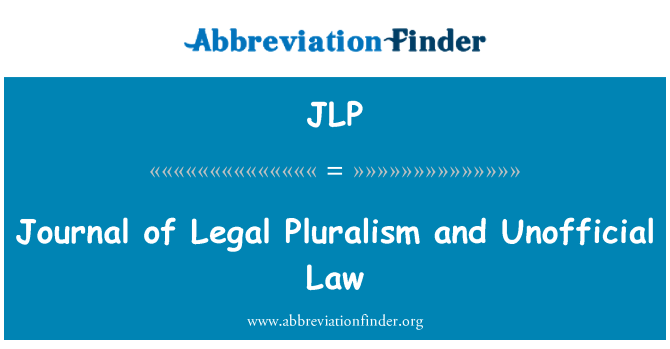 JLP: Journal of Legal Pluralism and Unofficial Law