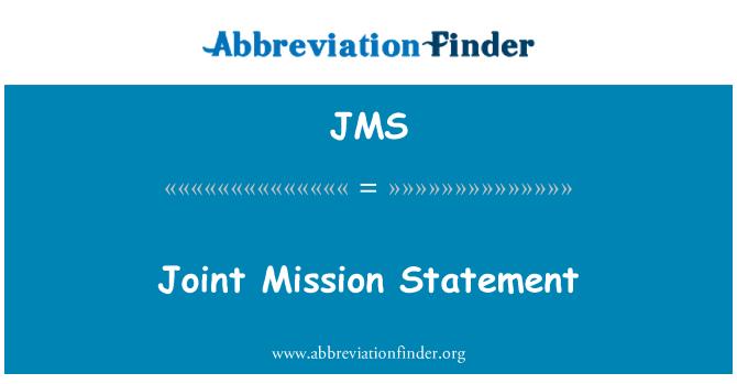 JMS: Joint Mission Statement