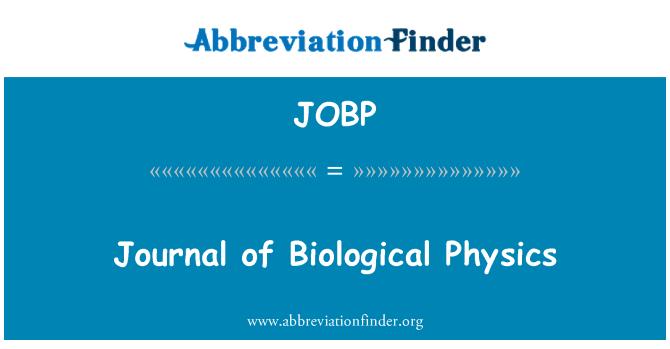 JOBP: Journal of Biological Physics