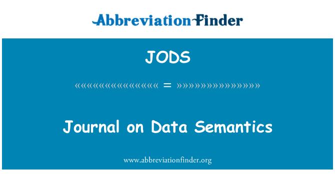 JODS: Journal on Data Semantics