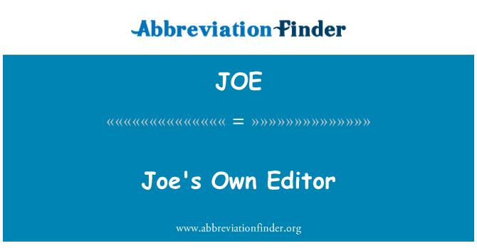 JOE: Joe's Own Editor